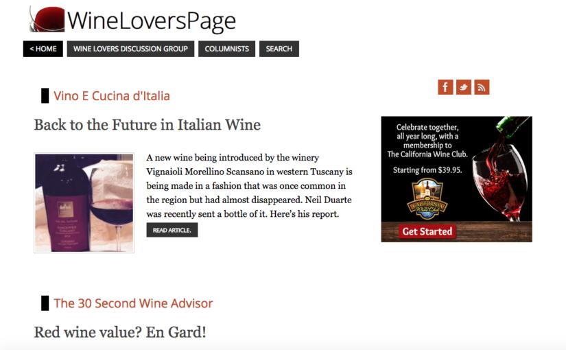 Sul blog americano Wineloverspage, Cornelius Duarte parla del nostro Vin del Fattore