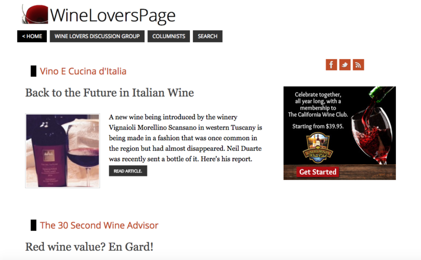 On Wineloverspage, American blogger Cornelius Duarte presents our Vin del Fattore